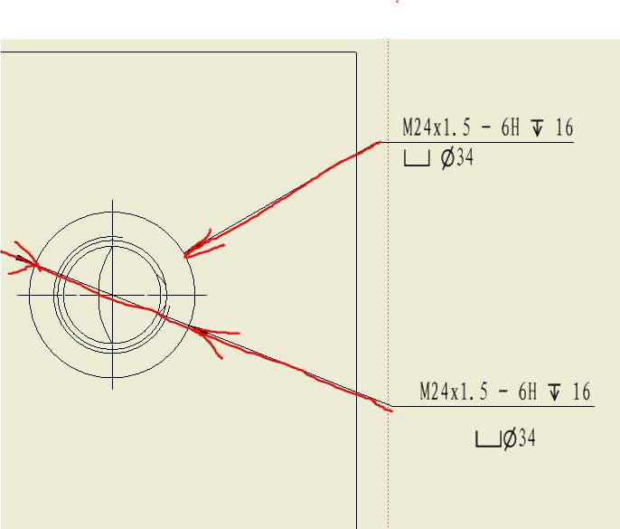 流区关于 孔和螺纹 标注图中上面是用 孔和螺纹 标注命令标注的,下