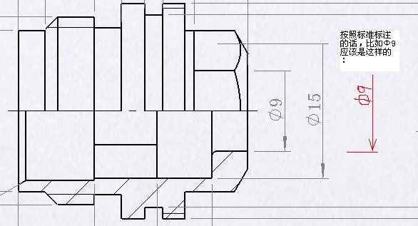 图纸视图剖面问题标注,使它成为单内径,像03火箭炮自行式卫乐8012箭头图片