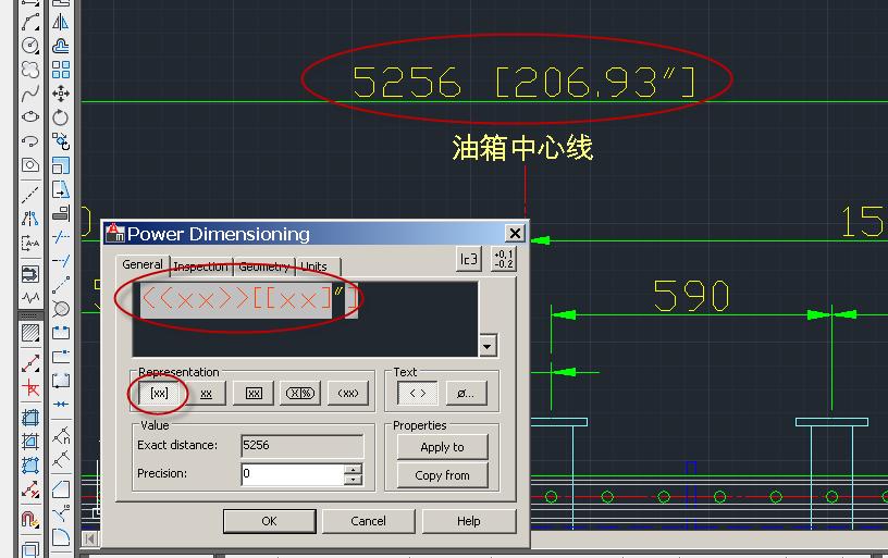 CAD2010显示尺寸英制标注米制和同时尺寸怎cad数字钢筋符号标注图片