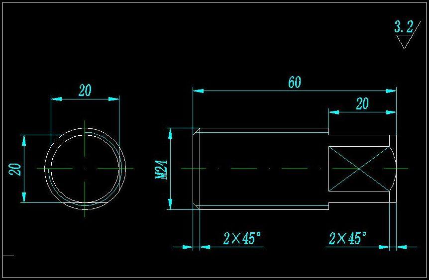 图纸设计与交流、电气制造机械方头上面圆管这结构螺纹版块简易图片